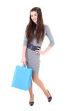 Happy girl in dress with shopping bags Stock Images