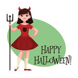 Happy girl dressed as devil for Halloween Royalty Free Stock Images