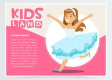 Happy girl dressed as princess, cute kid in Christmas costume for masquerade, kids land banner flat vector element for. Website or mobile app with sample text Royalty Free Stock Image