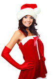 Happy girl dressed as Santa Stock Image