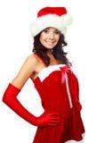Happy girl dressed as Santa Stock Image