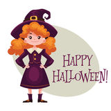 Happy girl dressed as witch for Halloween Royalty Free Stock Photography