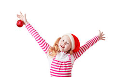 Happy girl dressed in Santa Claus hat Stock Image