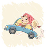 Happy girl driving a car Royalty Free Stock Photography