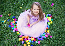 Happy girl with easter eggs Stock Photography