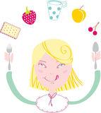 Happy girl eat her lunch Royalty Free Stock Images