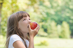 Happy girl eating apple on picnic in the park in sunny summer da Stock Image