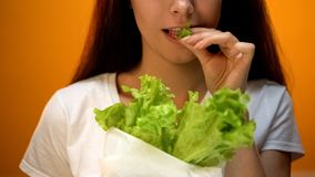Happy girl eating lettuce, vegetarian recommending eco products, healthy diet. Stock photo royalty free stock image