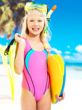 Happy girl enjoying at beach Stock Photo