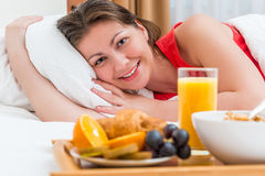 Happy girl enjoying the morning Stock Photos