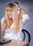 Happy girl enjoying music on headphone Royalty Free Stock Photo
