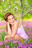 Happy girl enjoying nature royalty free stock images