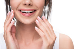 Happy girl enjoying purity of her face Royalty Free Stock Photo
