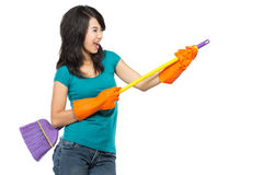 Happy girl excited during cleaning Royalty Free Stock Photos