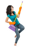 Happy girl excited during cleaning Stock Photos