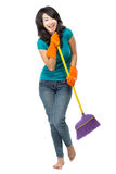 Happy girl excited during cleaning Stock Images