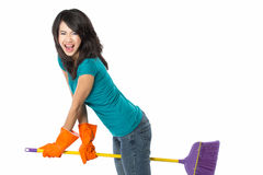 Happy girl excited during cleaning Stock Photography