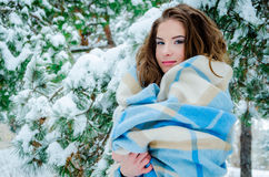 Happy girl and falling snowflakes Royalty Free Stock Photo