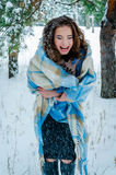 Happy girl and falling snowflakes Royalty Free Stock Image