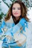 Happy girl and falling snowflakes Royalty Free Stock Photography