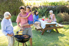 Happy Girl, Father And Grandfather Preparing Barbecue Royalty Free Stock Photos
