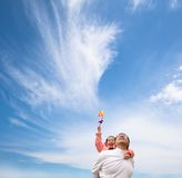 Happy girl and father with cloud Stock Photography