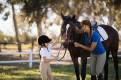 Happy girl and female jockey stroking horse. While standing on field at paddock Stock Image