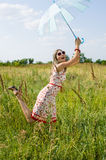 Happy girl in the field Royalty Free Stock Image