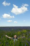 Happy girl in the field Royalty Free Stock Photography