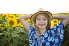 Happy girl on a field of sunflowers on summer sunset Royalty Free Stock Photos