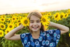 Happy girl on a field of sunflowers on summer sunset Royalty Free Stock Photography
