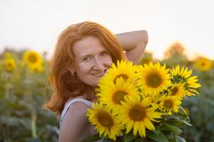 Girl and sunflowers royalty free stock photo