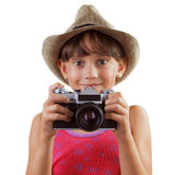 Happy girl with a film camera Stock Images