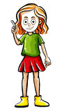 Happy girl with finger pointing up. Illustration Royalty Free Stock Photo