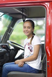 Happy Girl in Firefighter Car Royalty Free Stock Photography