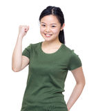 Happy girl fist up Stock Images