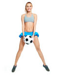 Happy girl with a football ball Royalty Free Stock Photography