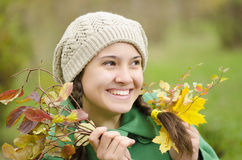 Happy girl in the forest Royalty Free Stock Photo