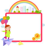 Happy girl and frame Royalty Free Stock Photography
