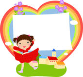 Happy girl and frame. Illustration of happy girl and frame Stock Photos