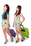Happy girl friend going on vacation Stock Images