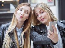 Happy girl friends Stock Photos