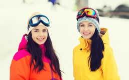 Happy girl friends in ski goggles outdoors Royalty Free Stock Image