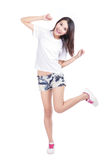 Happy Girl in full length with white T-Shirt Stock Photography