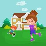 Happy girl fun rollers, children sport kids activity vector illustration Stock Photo