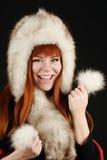 Happy girl in fur Stock Photos