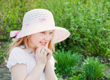Happy girl in garden Royalty Free Stock Images