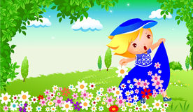 Happy girl in garden Royalty Free Stock Image