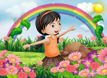 A happy girl at the garden with fresh blooming flowers. Illustration of a happy girl at the garden with fresh blooming flowers Stock Photos