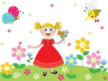 Happy girl in a garden. Little girl playing in a garden Royalty Free Stock Images